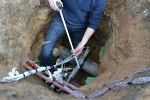 Příprava pro zmapování teplotního pole v okolí zasypaného potrubí